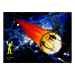 WORLD CUP FLAMING SOCCER BALL ART POSTERS