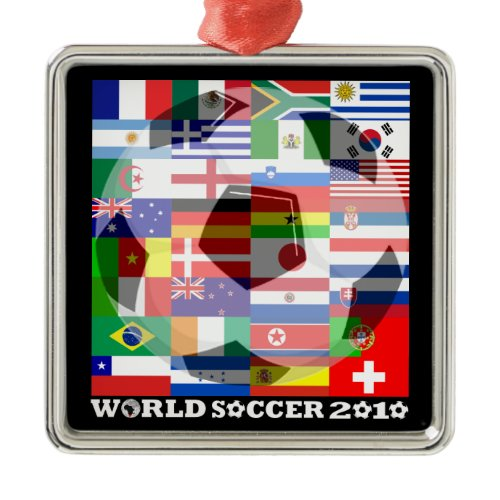 World Cup Soccer 2010 Flags Ornament Square ornament
