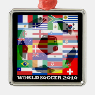 World Cup Soccer 2010 Flags Ornament Square