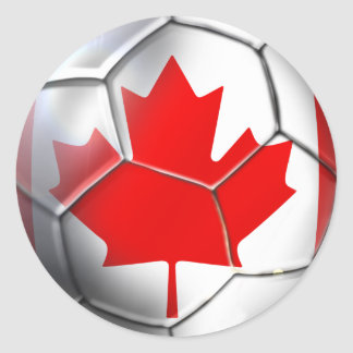World Cup Soccer Brazil 2014 Canada flag ball Classic Round Sticker