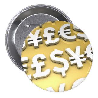 World Currencies Gold International Finance Wealth 3 Inch Round Button