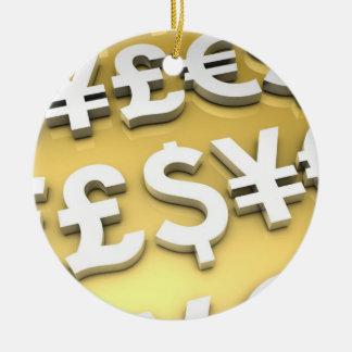 World Currencies Gold International Finance Wealth Ceramic Ornament