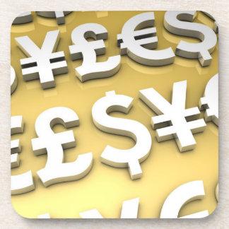 World Currencies Gold International Finance Wealth Drink Coaster