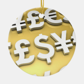 World Currencies Gold International Finance Wealth Double-Sided Ceramic Round Christmas Ornament