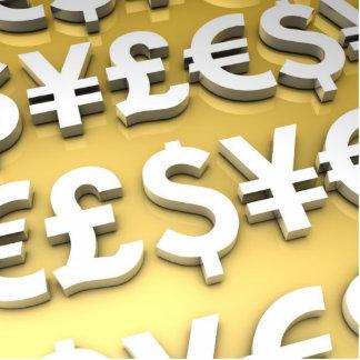 World Currencies Gold International Finance Wealth Statuette