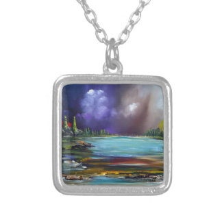World discharge square pendant necklace