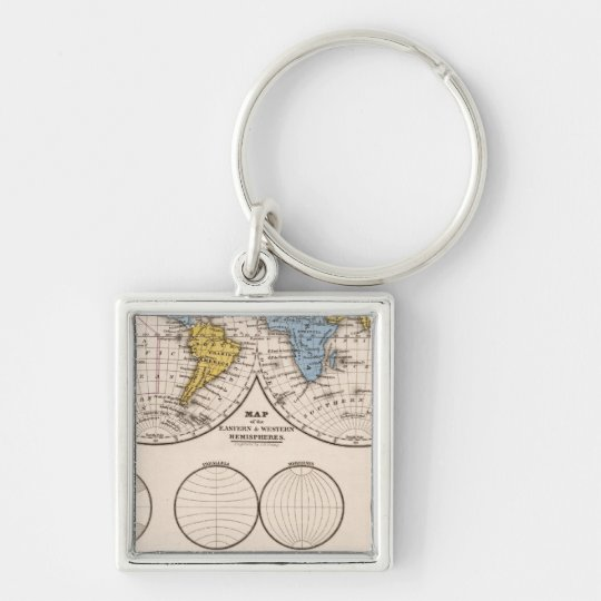 World Equatorial Projection and Polar Projection Keychain
