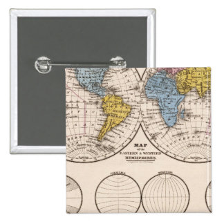World Equatorial Projection and Polar Projection Pinback Button