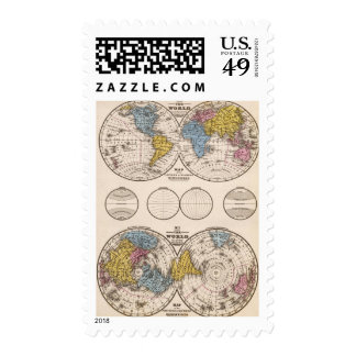 World Equatorial Projection and Polar Projection Postage Stamps