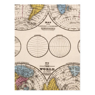 World Equatorial Projection and Polar Projection Postcard