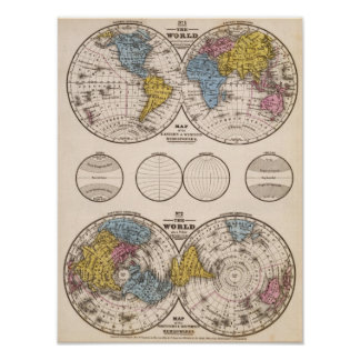 World Equatorial Projection and Polar Projection Poster