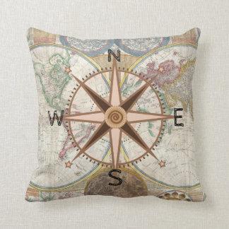 World Explorer Compass Rose Throw Pillow