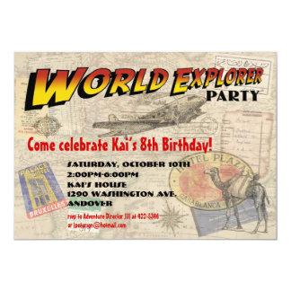 """World Explorer Party Invitation 5"""" X 7"""" Invitation Card"""