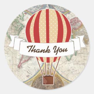 World Explorer Red Hot Air Balloon & Ribbon Classic Round Sticker