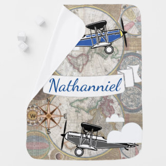 World Explorer Vintage Airplanes - Personalized Baby Blanket