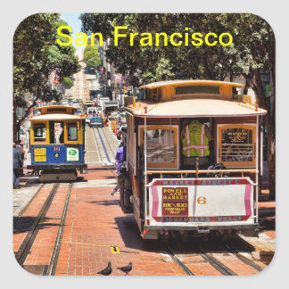 World Famous Cable Cars Square Sticker