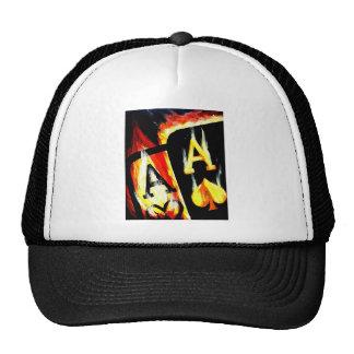 WORLD FAMOUS DESIGN FLAMING POKER ACES TRUCKER HAT