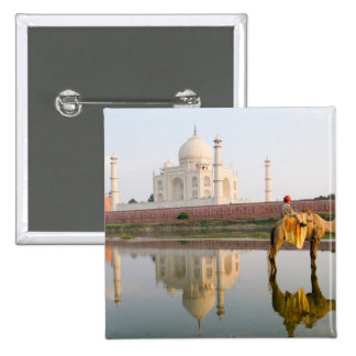 World famous Taj Mahal temple burial site at 2 Inch Square Button
