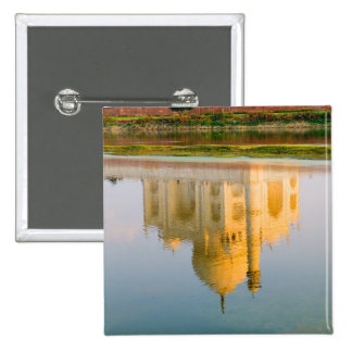 World famous Taj Mahal temple reflection at 2 Inch Square Button