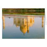 World famous Taj Mahal temple reflection at Cards