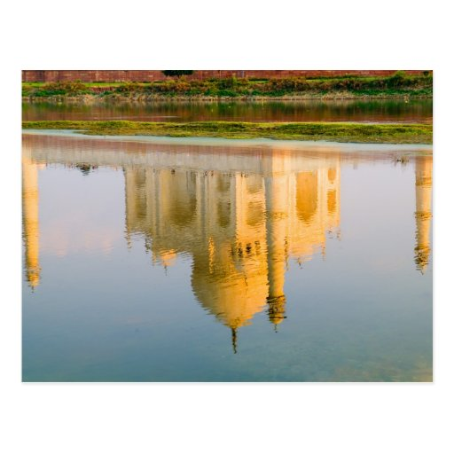 World famous Taj Mahal temple reflection at Postcards