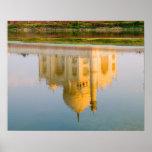 World famous Taj Mahal temple reflection at Posters