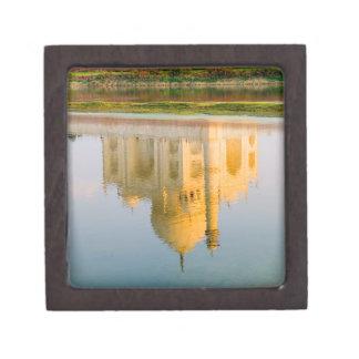 World famous Taj Mahal temple reflection at Premium Keepsake Box