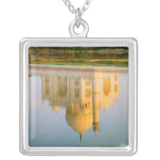World famous Taj Mahal temple reflection at Square Pendant Necklace