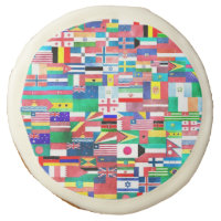 World Flag Collage Sugar Cookie