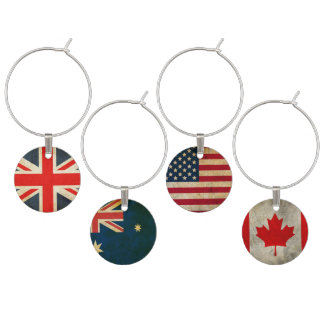 World Flag Wine Charm Set