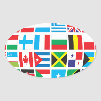 World Flags Globe Oval Sticker