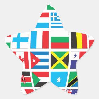World Flags Globe Star Sticker
