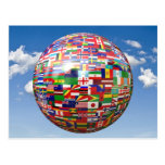 World Flags in a Globe Postcards