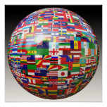 World Flags in a Globe Print
