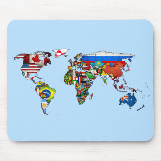 World Flags Map Mouse Pad