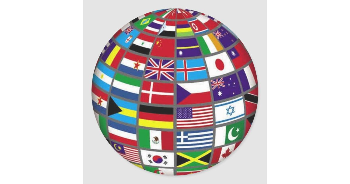 World Flags on Globe Sticker | Zazzle.com
