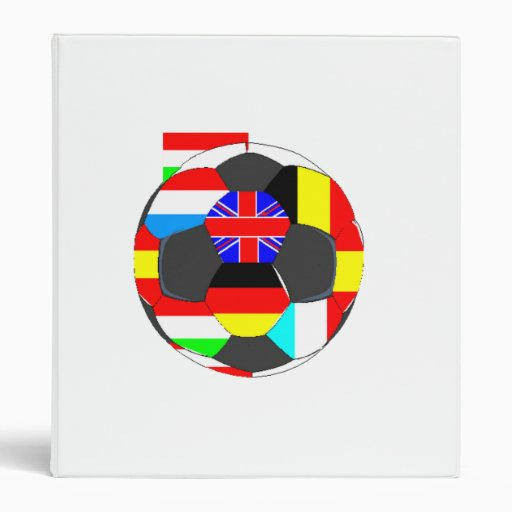 World Flags Soccer Ball 3 Ring Binders
