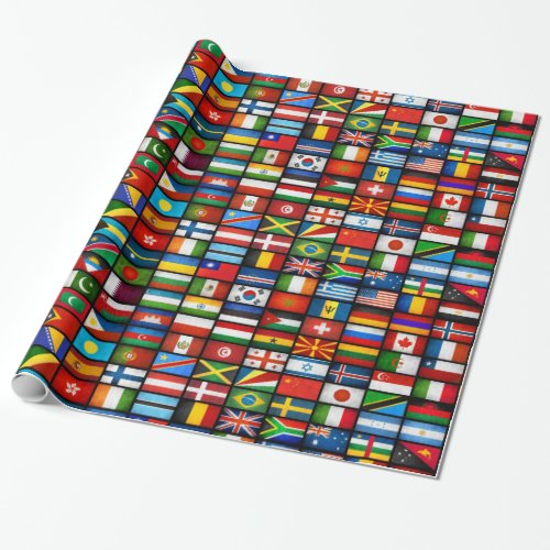 World Flags Wrapping Paper Black