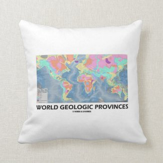 World Geologic Provinces (World Map Geology) Pillow