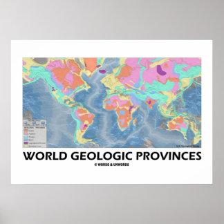 World Geologic Provinces (World Map Geology) Poster