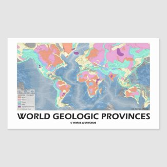 World Geologic Provinces (World Map Geology) Rectangle Stickers