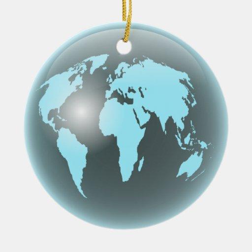 World Glass Globe Christmas Ornaments