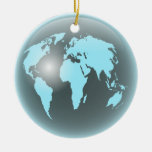 World Glass Globe Double-Sided Ceramic Round Christmas Ornament