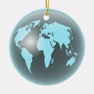World Glass Globe Double-Sided Ceramic Round Christmas Ornament
