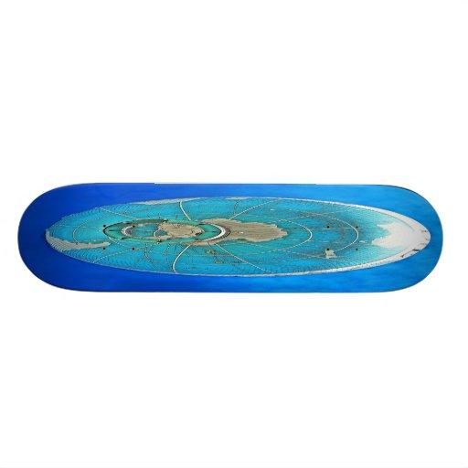World Globe Balloon and Deep Blue Sky Skate Board