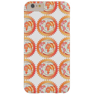 World, globe, continents. Orange and white Barely There iPhone 6 Plus Case