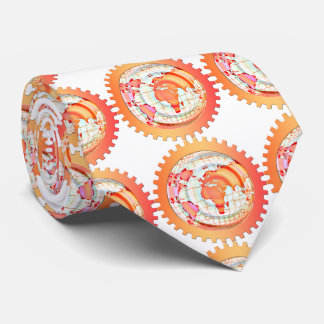 World, globe, continents. Orange and white Neck Tie