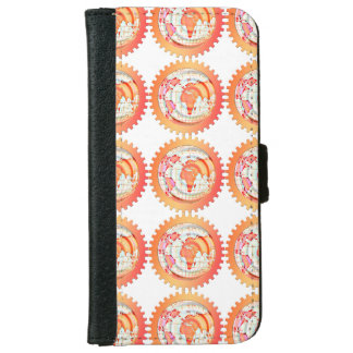 World, globe, continents. Orange and white Wallet Phone Case For iPhone 6/6s
