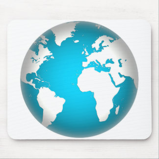 World, globe, continents. White and blue Mouse Pad
