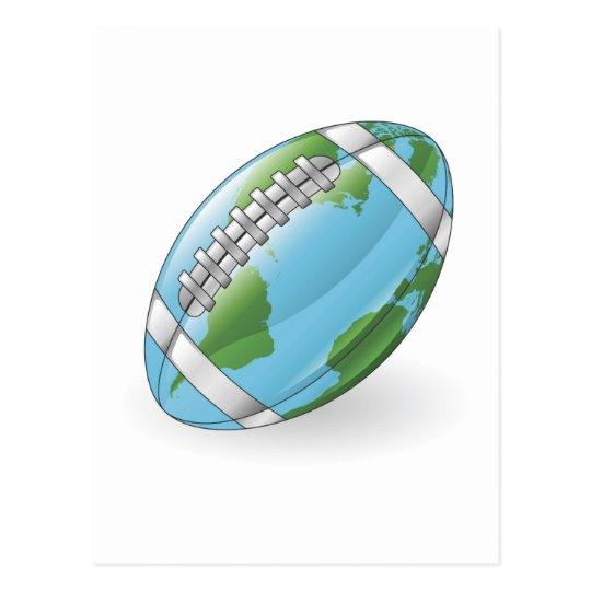 World globe football ball concept postcard